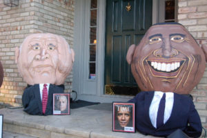 2008 - John McCain 290 lb. and Barack Obama 285 lb. Pumpkins